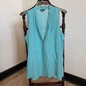 Vince Camuto Turquoise & Gray Print Blouse  479
